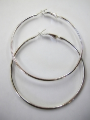 Large Silver Hoop Earrings - Jewelry