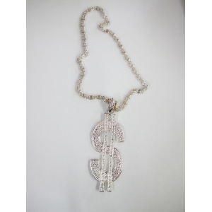 Silver Dollar Sign Necklace - Bling Necklace