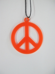 Peace Sign Necklace - Orange