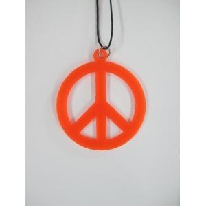 Peace Sign Necklace - Orange