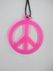 Peace Sign Necklace - Pink