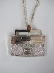 Silver Recorder Necklace - Bling Necklaces