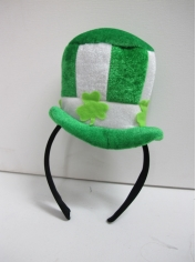 Mini Striped Green and White Hat with Headband