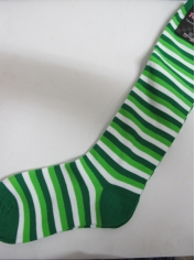 Light Green White Striped Knee High Socks