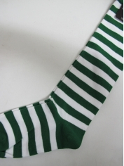 Green White Striped Knee High Socks