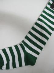 Green White Striped Knee High Socks