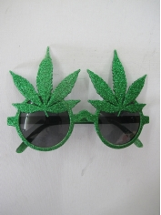 Green Marijuana Leaf Sunglasses