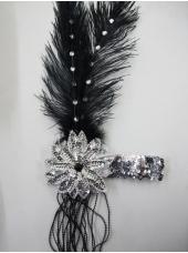 Large 20's Black Headpiece - Costume Accessories