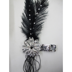 Large 20's Black Headpiece - Costume Accessories