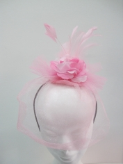Pink Flower Fancinator on Headband - Headpiece
