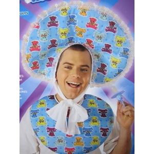 Blue Baby Bib Bonnet Set - Headpiece