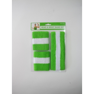 Green White Sweatband Set