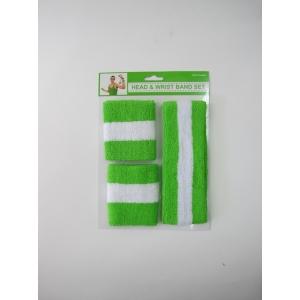 Green White Sweatband Set