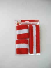 Red White Sweatband Set