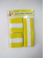 Yellow White Sweatband Set