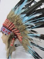 Deluxe Blue Black Native American Headdress