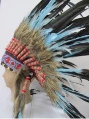 Deluxe Blue Black Native American Headdress