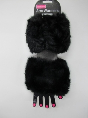 Black Fur Arm Warmers