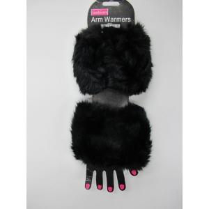 Black Fur Arm Warmers