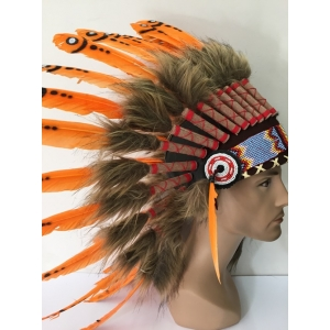 Deluxe Orange Native American Headdress