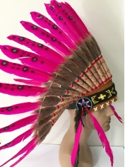 Large Pink Black Native American Headdress