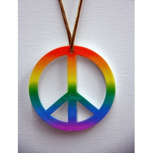 Peace Sign Necklace - Rainbow