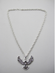 Long Eagle Pendant Silver Bling Necklace