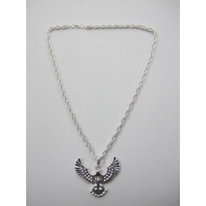 Long Eagle Pendant Silver Bling Necklace