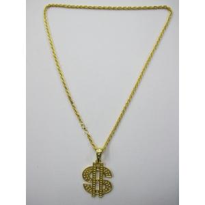 Long Dollar Pendant Gold Bling Necklace