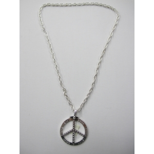 Long Peace Pendant Silver Bling Necklace