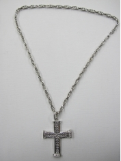 Cross Pendant Silver Bling Necklace