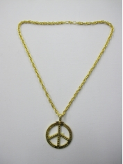 Long Peace Pendant Gold Bling Necklace