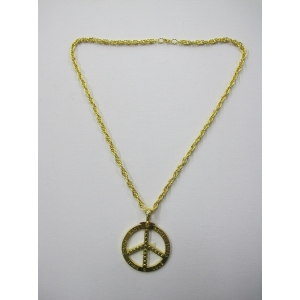 Long Peace Pendant Gold Bling Necklace