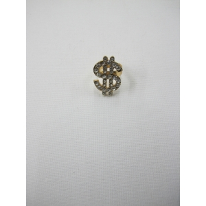 Gold Bling Dollar Sign Ring With Diamond