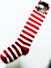 White/Red Striped Knee-high Socks