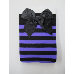 Purple Black Striped Thigh High Stocking