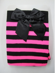 Pink Black Striped Thigh High Stocking