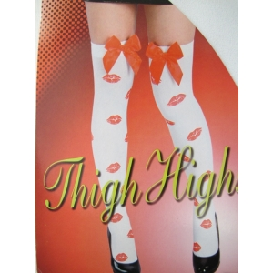 Red Lips Thigh High Stocking