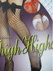 Fishnet Thigh High Stocking With Bow - White