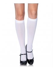 White Nylon Opaque Knee Highs