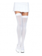White Opaque Nylon Thigh Highs Stockings