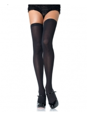 Black Opaque Nylon Thigh Highs Stockings