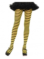 Yellow Black Nylon Striped Tights
