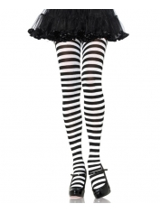 White Black Nylon Striped Tights