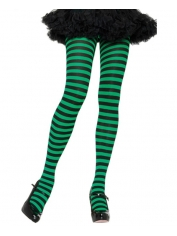 Green Black Nylon Striped Tights