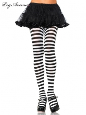 Nylon Striped Tights White Black - Leg Avenue Pantyhose and Tights