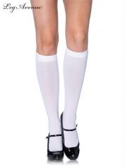 Nylon Opaque Knee Highs White - Leg Avenue Stockings
