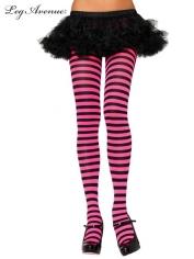 Nylon Striped Tights Black Fuchsia - Leg Avenue Pantyhose and Tights