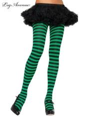 Nylon Striped Tights Black Green - Leg Avenue Pantyhose and Tights