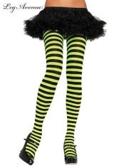 Nylon Striped Tights Black Lime - Leg Avenue Pantyhose and Tights